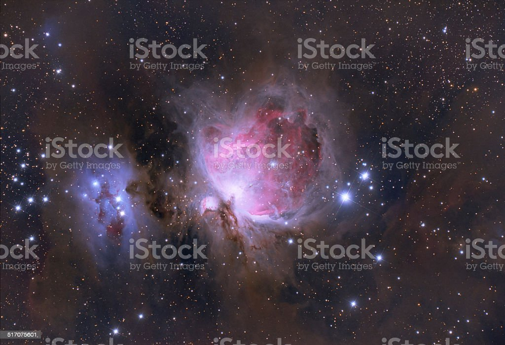 The Orion Nebula in Orion constellation stock photo