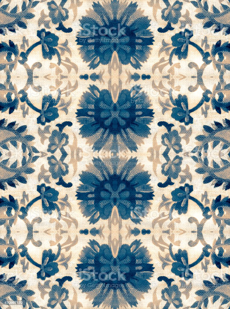 The ornament of the pieces of fabric with a pattern stock photo