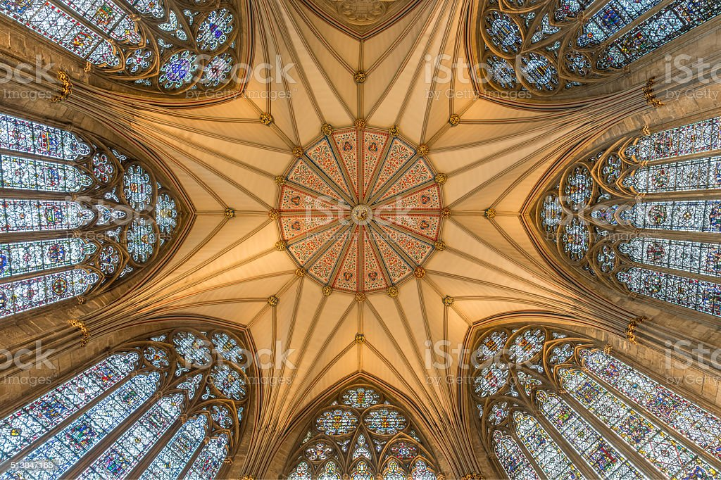 The Ornate Roof of The Chapter House in York Minster stock photo
