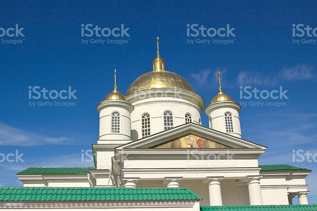The Orthodox Church against the blue sky stock photo