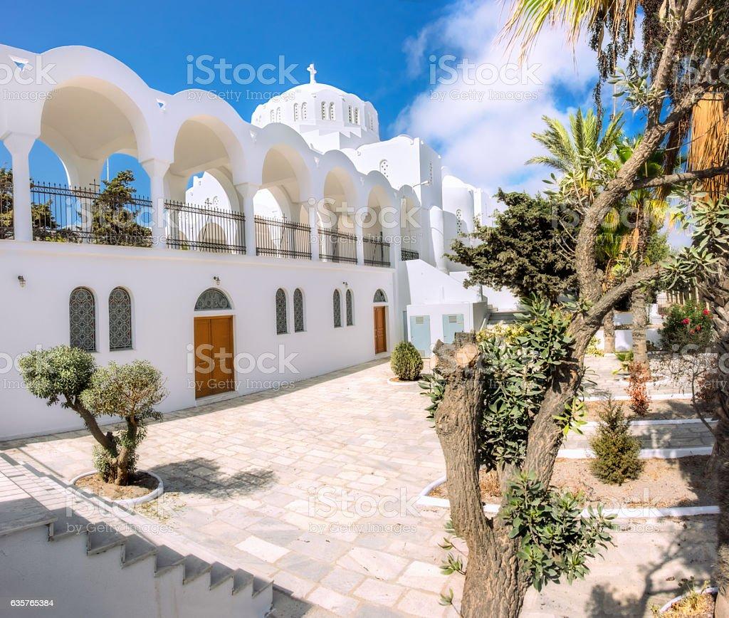 The Orthodox Metropolitan Cathedral in Fira, Santorini stock photo
