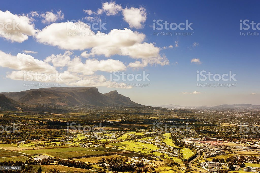 The other side of Table Mountain: Cape Town suburbs, farmland stock photo