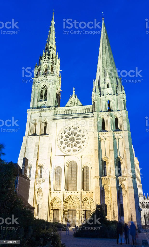 The Our Lady of Chartres cathedra at night l, France. stock photo