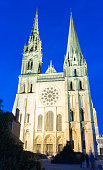 The Our Lady of Chartres cathedra at night l, France.