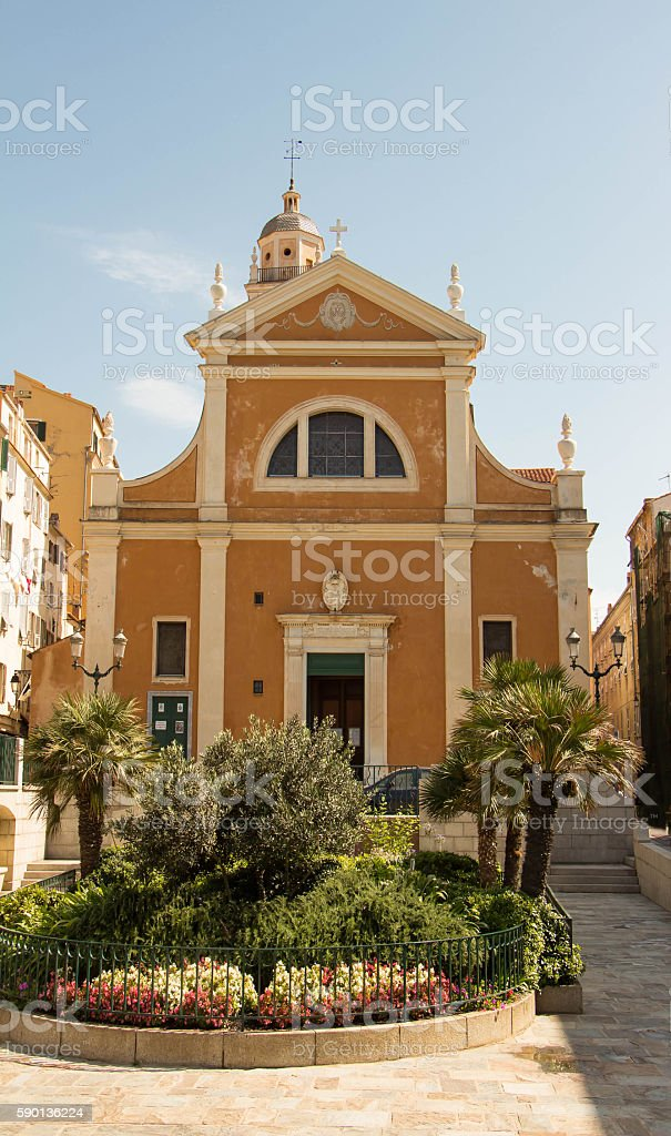 The Our Lady of the Assumption Cathedral , Ajaccio city, Corsica island. stock photo