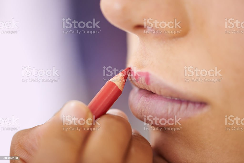 The outline of a perfect pout stock photo