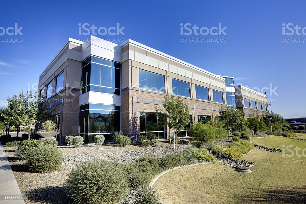 The outside of a large office building royalty-free stock photo