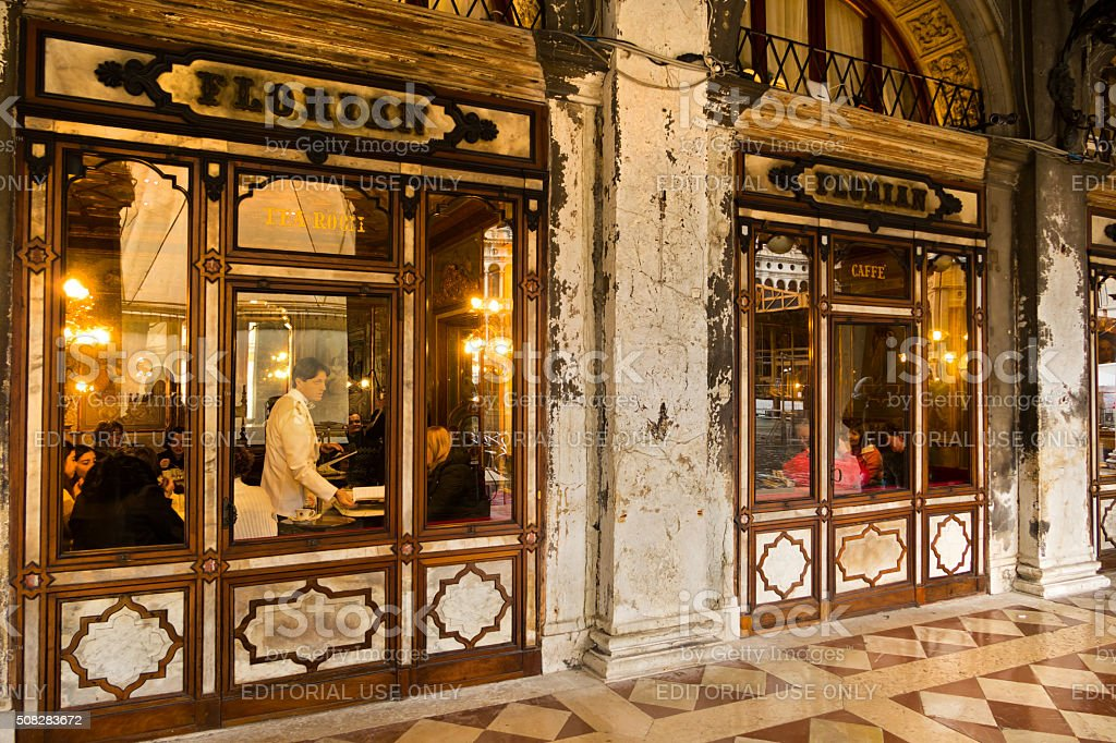 The outside of cafe Florian in Venice at night stock photo