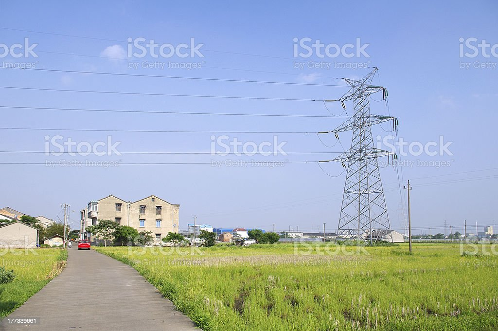 The outskirts of scenic power tower royalty-free stock photo