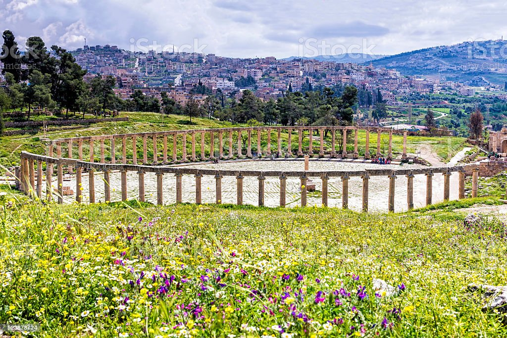 The Oval Forum colonnade in ancient Jerash, Jordan stock photo