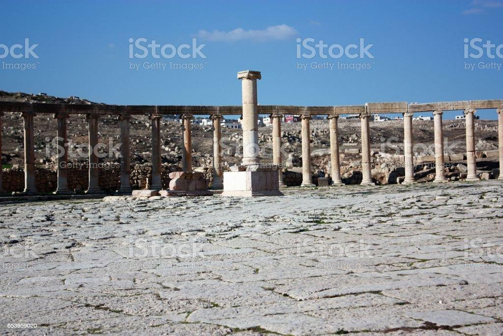 The Oval Forum in Jerash in Jordan, Middle East stock photo