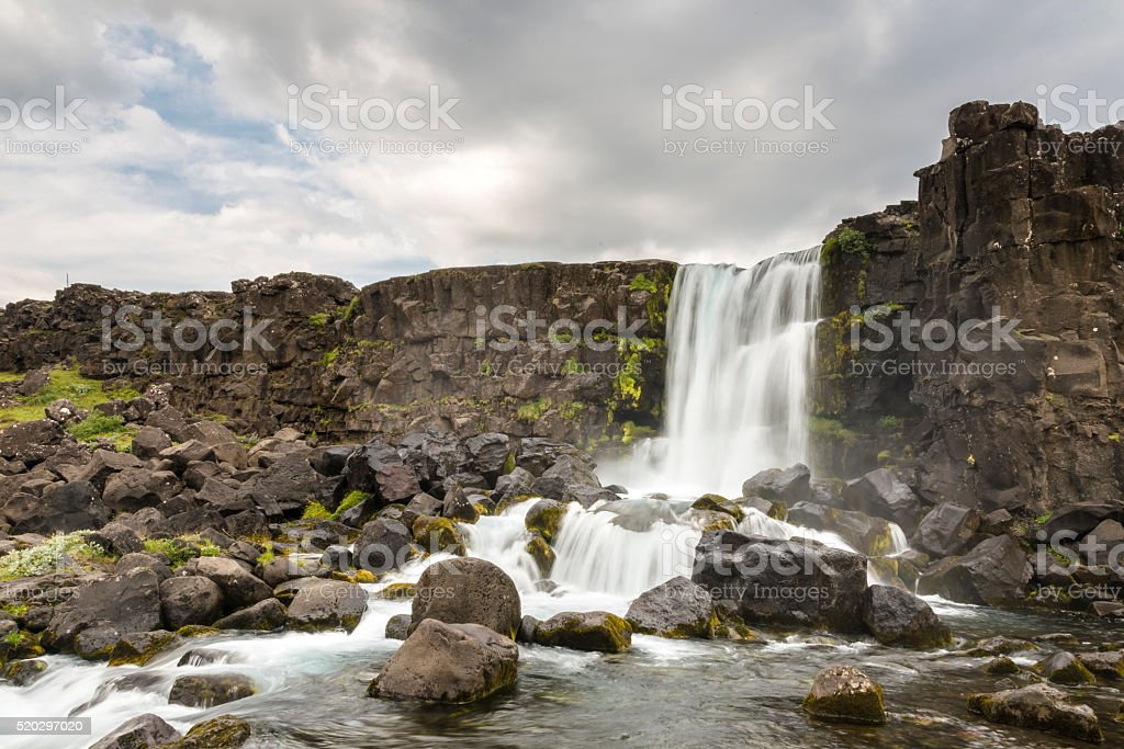 The Oxarafoss fall. Golden Ring.  Iceland. stock photo