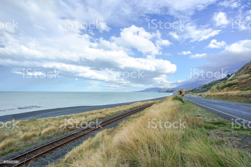 The Pacific Coast Of New Zealand stock photo