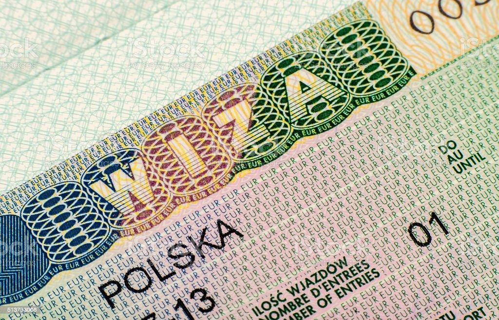 The page with  Schengen Visa (polish version) stock photo