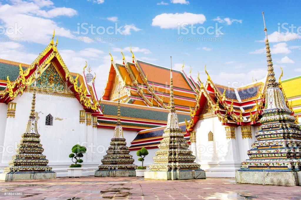 The pagoda and chapel in Wat Pho. Bangkok, Thailand. stock photo