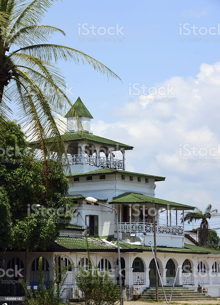 The Pagoda at Kings Bell Palace in Cameroon, Douala stock photo