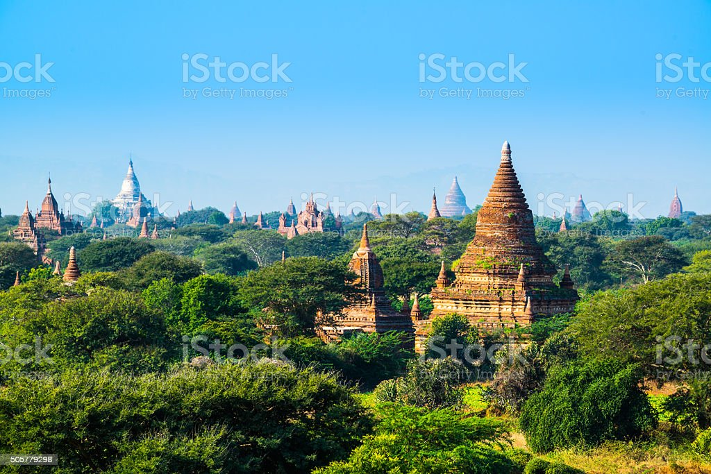 The pagoda of Bagan, Myanmar stock photo