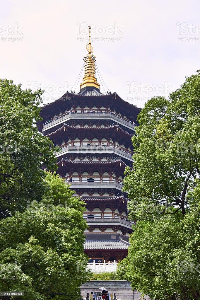 The pagoda of west lake, Hangzhou, Zhe Jiang, China stock photo