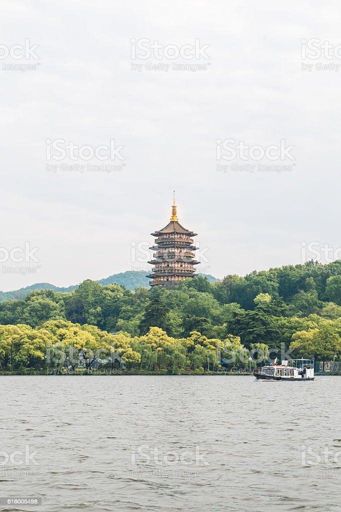 The pagoda of west lake stock photo
