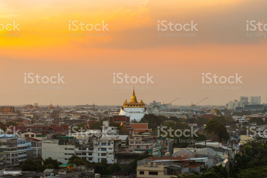 The pagoda with modern buildings surrounds. stock photo