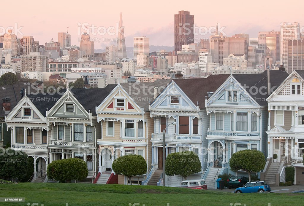 The Painted Ladies in San Francisco California stock photo