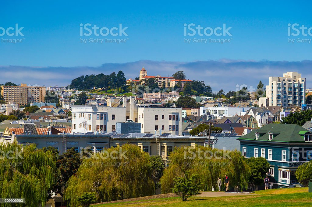 The Painted Ladies of San Francisco Alamo Square Victorian house stock photo