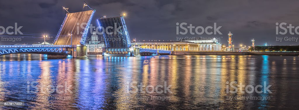 The Palace Bridge on Neva river, St Petersburg, Russia stock photo