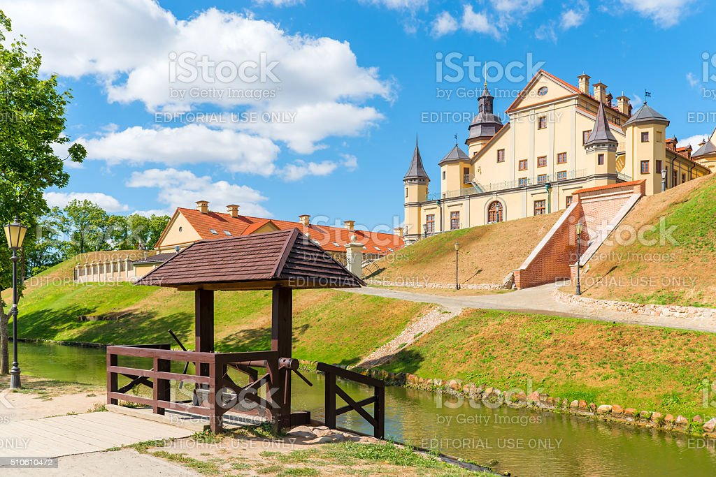 The palace complex in Nesvizh Belarus on the hill stock photo