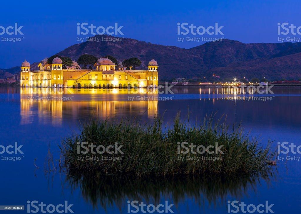 The palace Jal Mahal at night stock photo