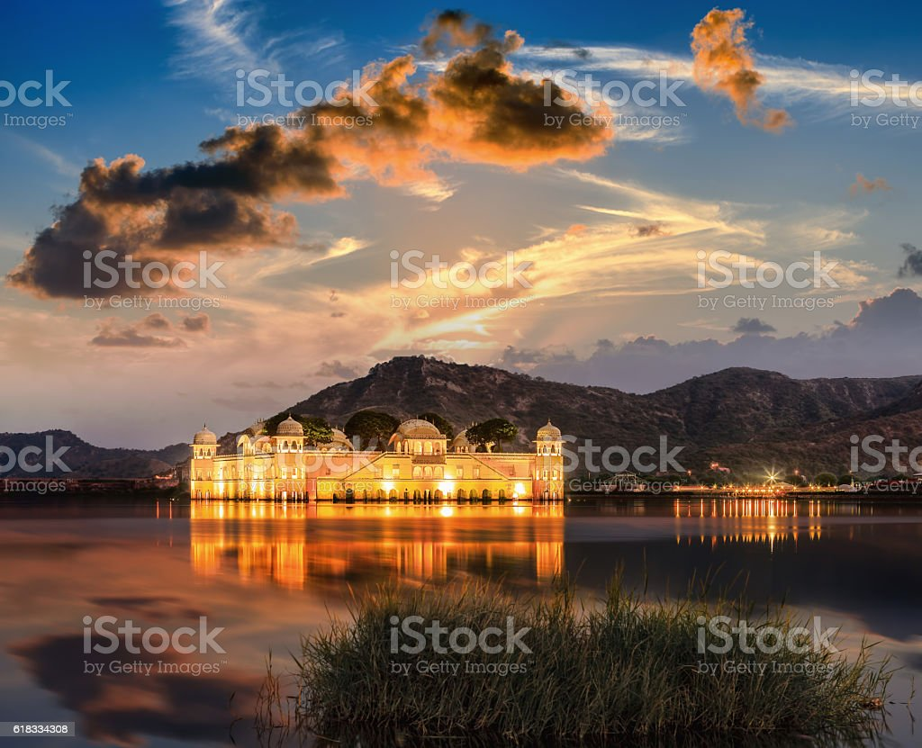 The Palace Jal Mahal at sunrise. stock photo