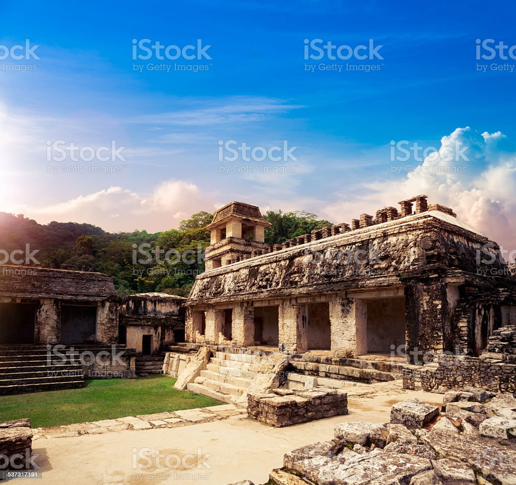 'The Palace' observation tower, Palenque, Maya city in Chiapas stock photo