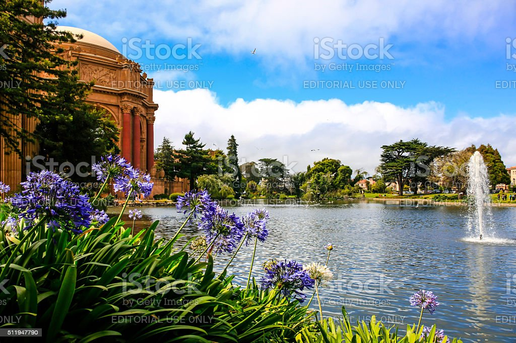 The Palace of Fine Arts garden in San Francisco CA stock photo