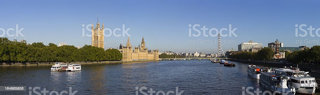 The Palace of Westminster and London Eye royalty-free stock photo