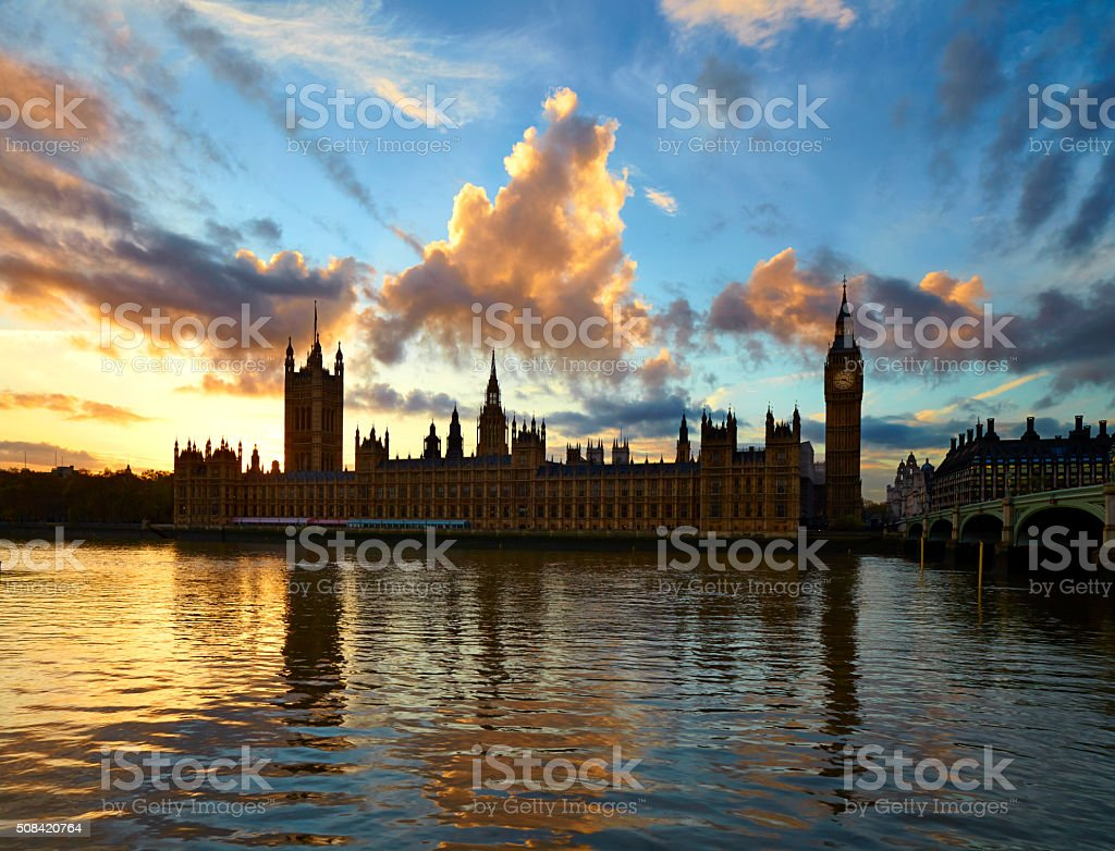 The Palace Of Westminster At Dusk stock photo