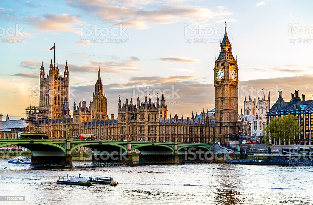 The Palace of Westminster in London in the evening stock photo