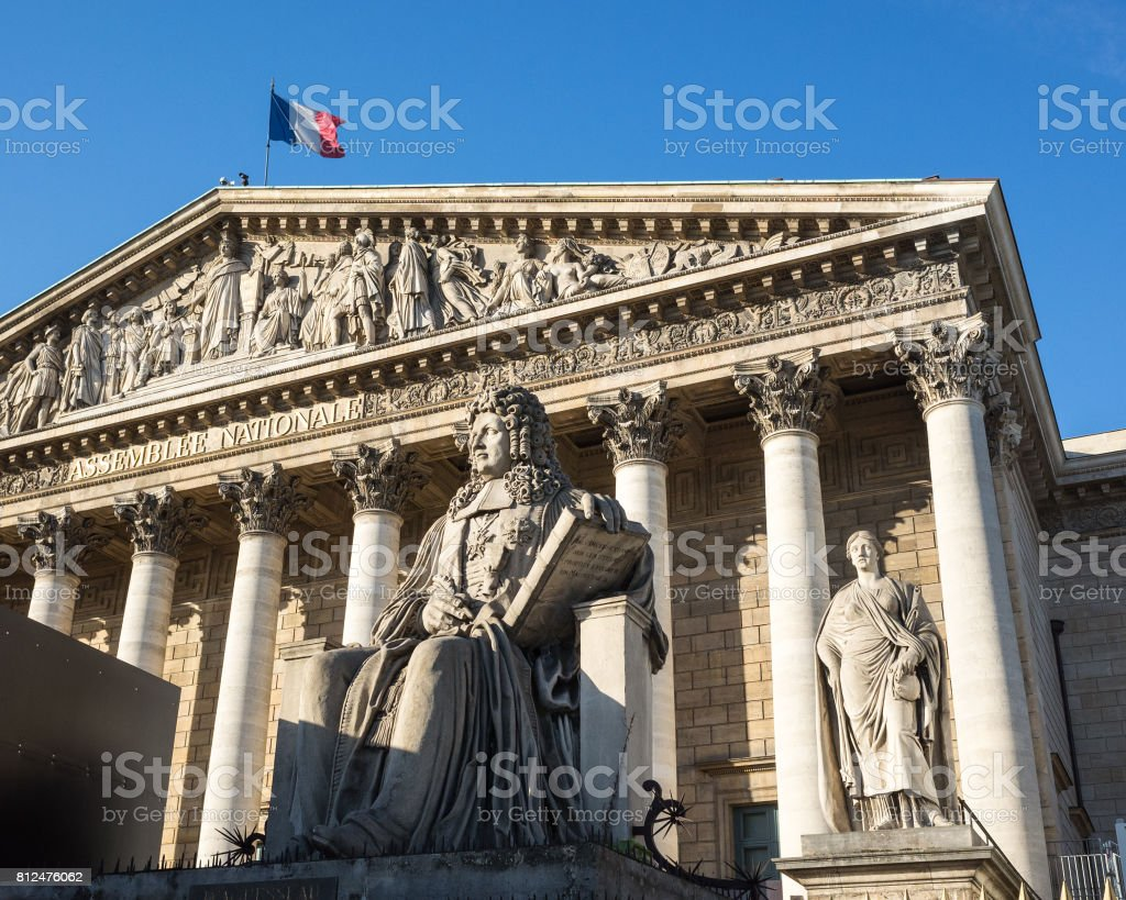 The Bourbon Palace in Paris which houses the french National Assembly. stock photo