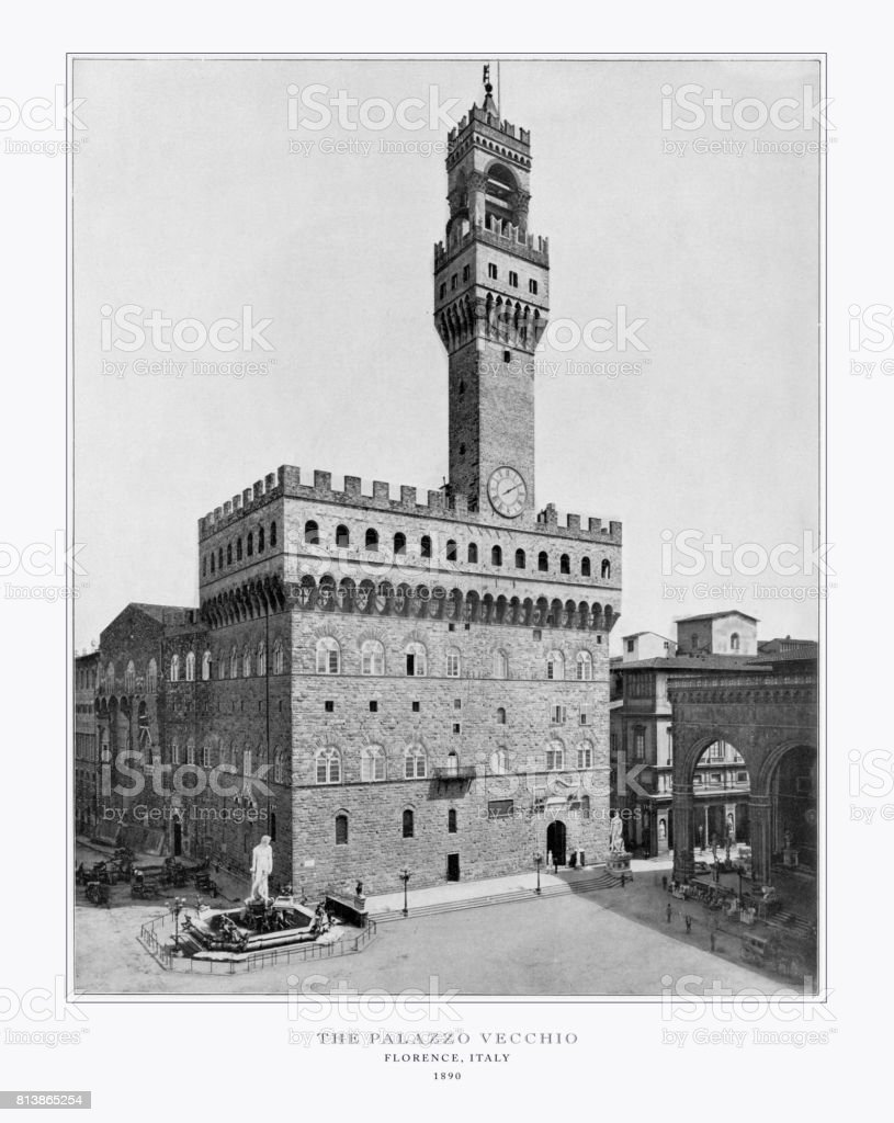 The Palazzo Vecchio, Florence, Italy, Antique Italian Photograph, 1893 stock photo