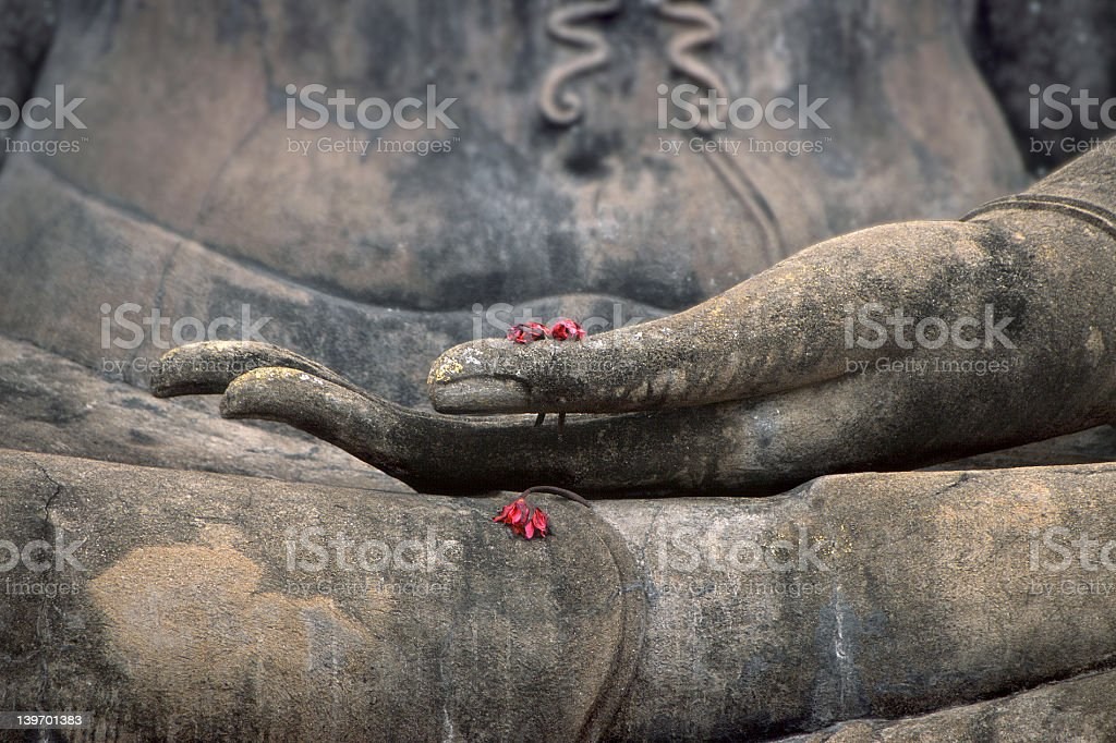 The palm of Buddha's hand facing upwards holding red flowers royalty-free stock photo