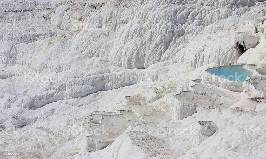 The Pamukkale natural lakes in Hierapolis Turkey stock photo