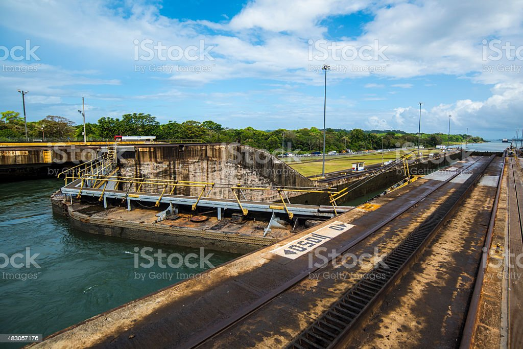 The Panama Canal Gates at Gatun Locks stock photo