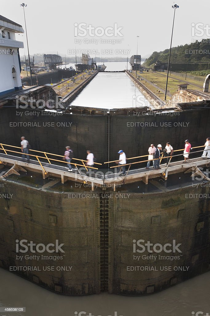 The Panama Canal Gates at Miraflores Locks royalty-free stock photo