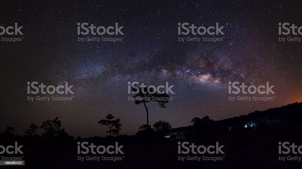 The Panorama Milky Way galaxy, Long exposure photograph stock photo