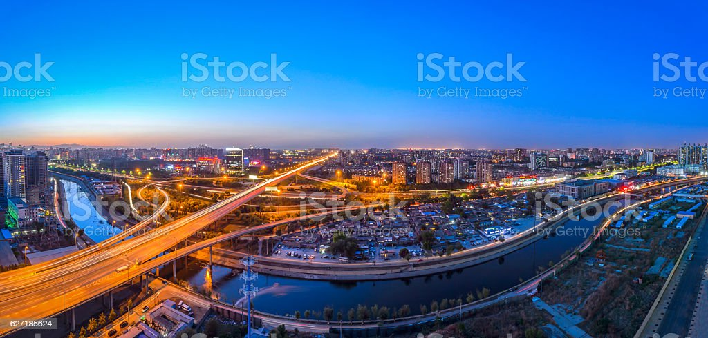 The panorama of Beijing at dusk stock photo