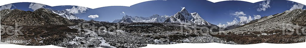 The panorama View of himalayas stock photo