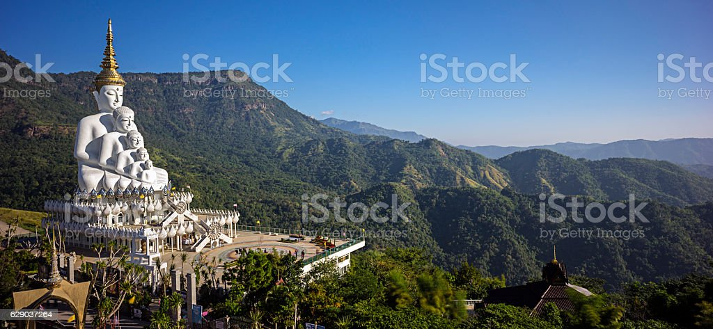 The Panorama view of Wat Pha Sorn Kaew stock photo