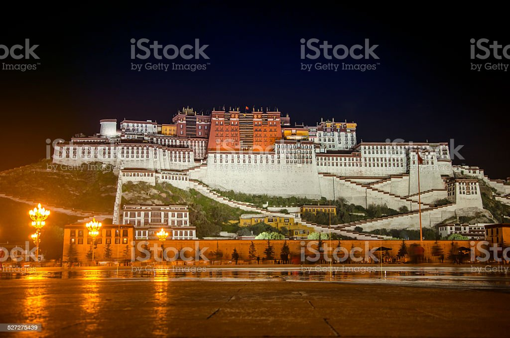the panoramagram of Potala palace night view stock photo