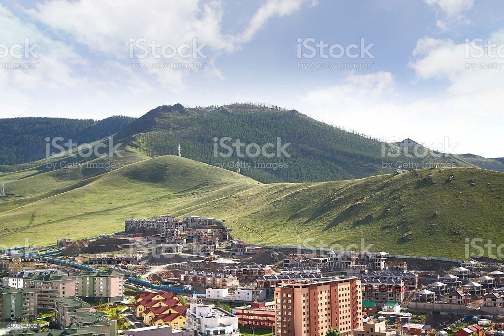 The panoramic view of the entire city of Ulaanbaatar, mongolia stock photo