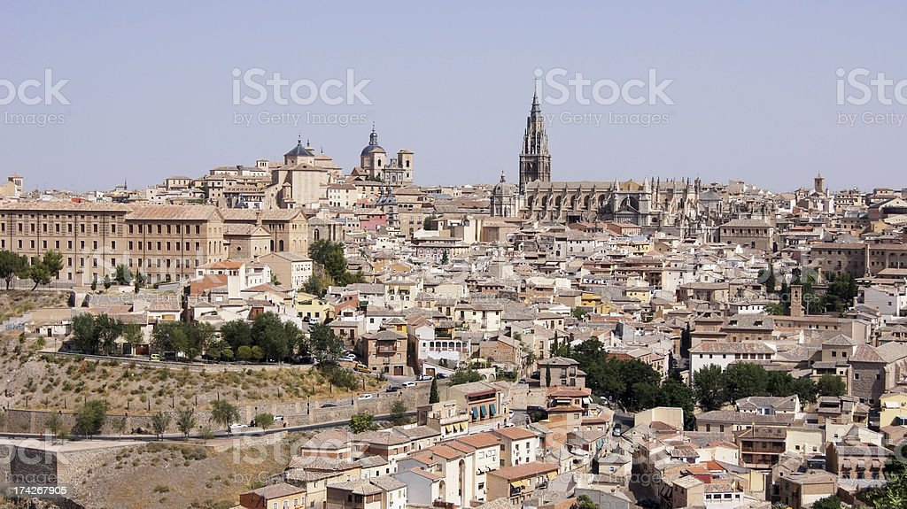 The panoramic view of Toledo in Spain stock photo