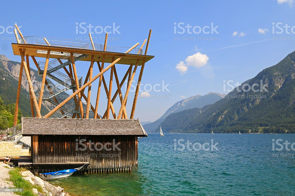 The panoramic viewing platform, Aussichtsturm in Austria stock photo