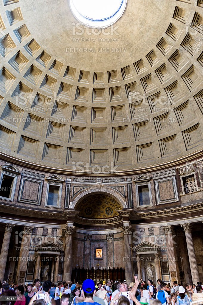 The Pantheon and the tourists stock photo